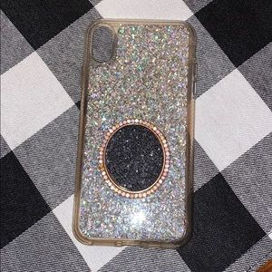 Xs max silver glitter case with diamond pop socket